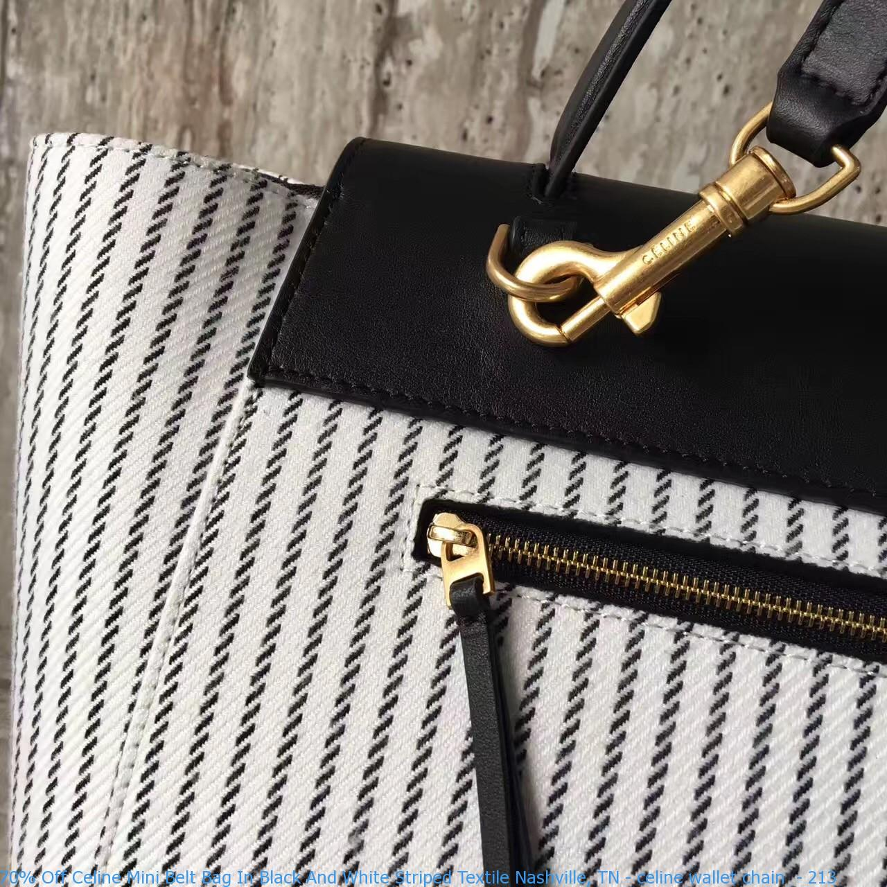 0ba531a33b73b 70% Off Celine Mini Belt Bag In Black And White Striped Textile ...