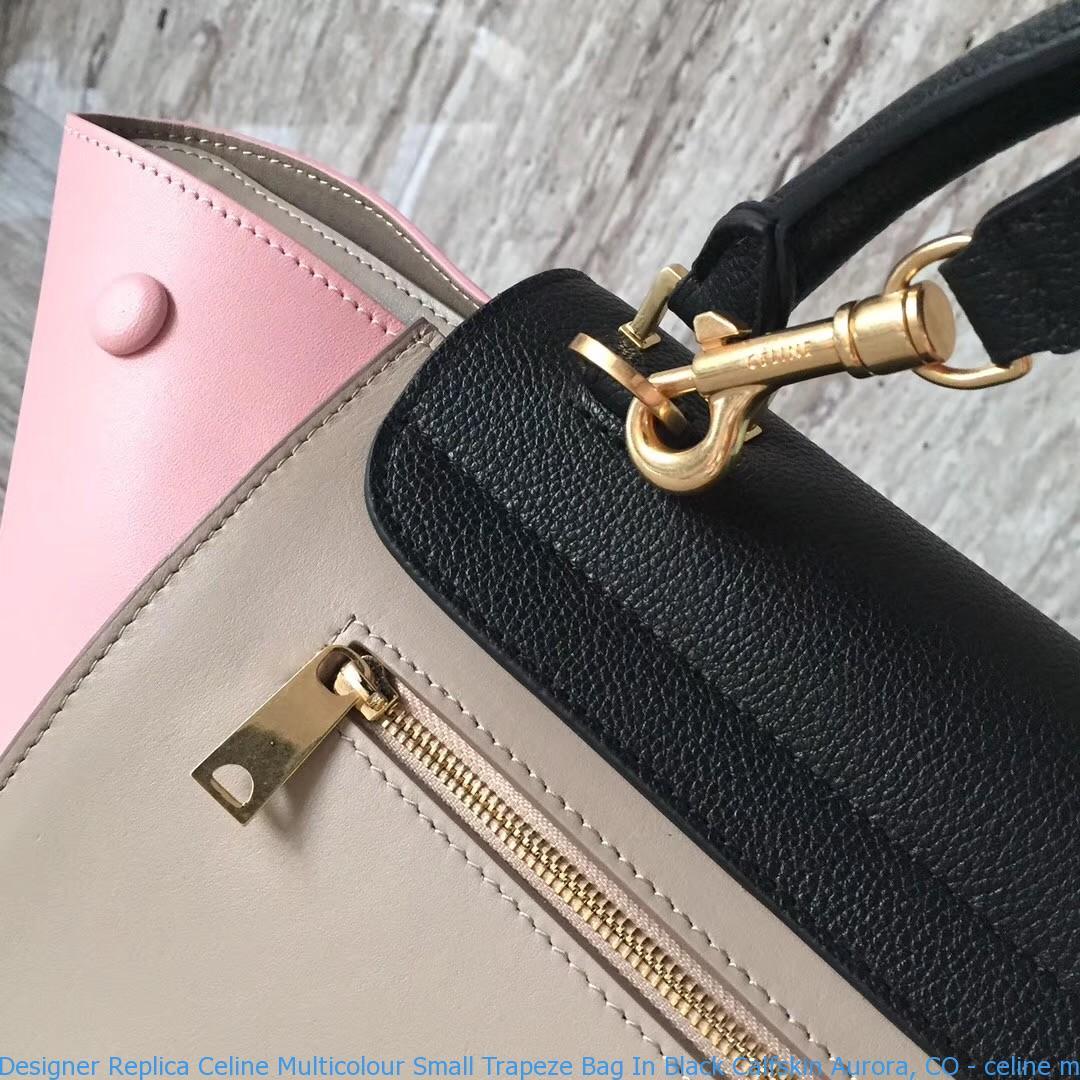 75802c26a2 Designer Replica Celine Multicolour Small Trapeze Bag In Black ...
