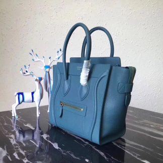 bccf95561393 ... Discount Celine Mini Luggage Bag In Cyan Grained Leather St. Paul