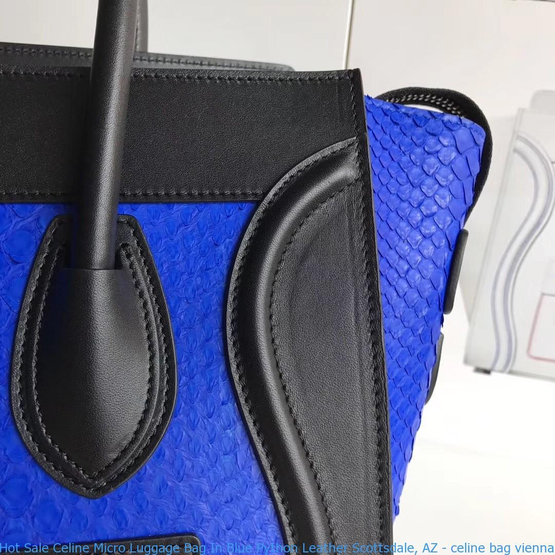 Hot Sale Celine Micro Luggage Bag In Blue Python Leather Scottsdale ... 82750fe4e1fc9