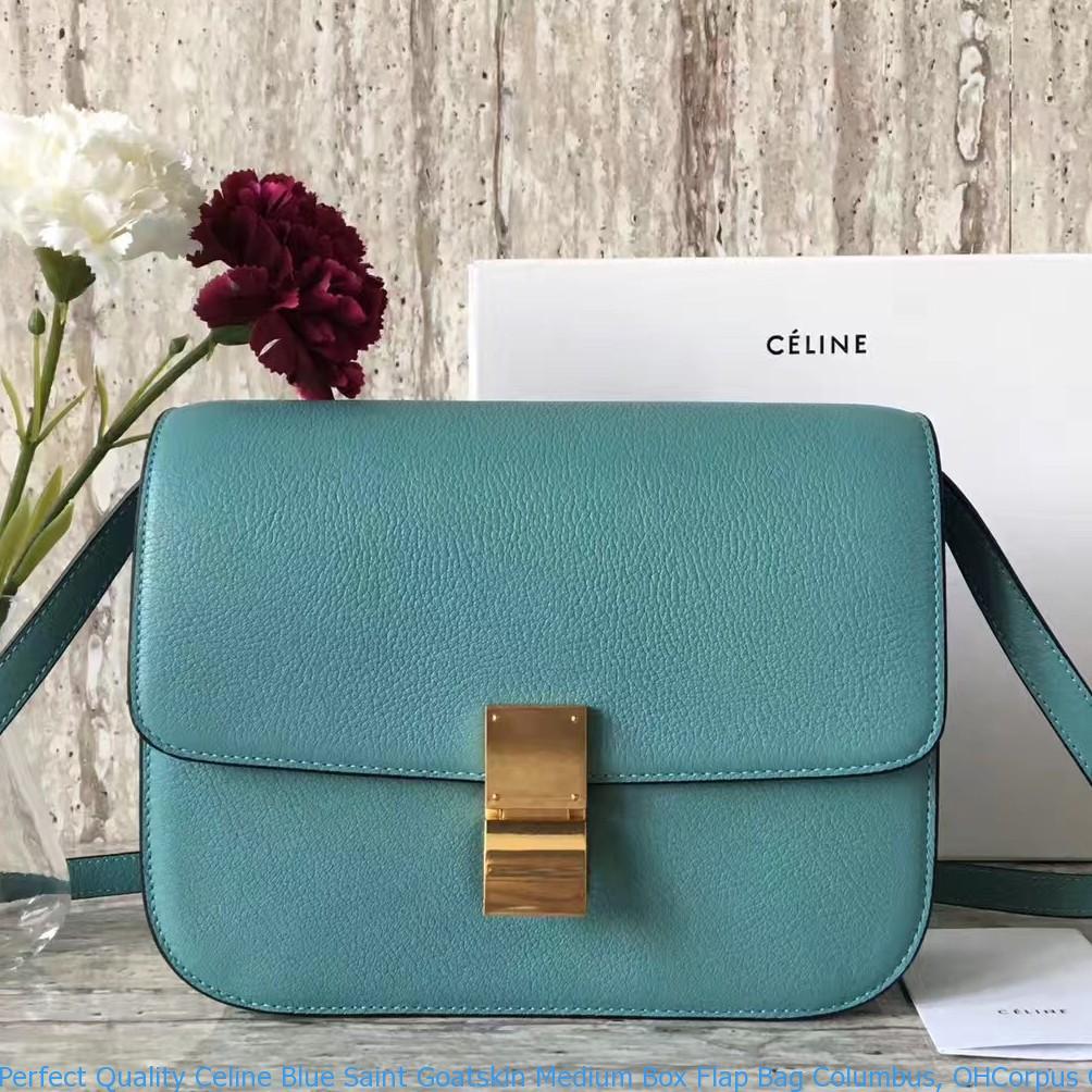 Blue Saint Goatskin Medium Box Flap Bag