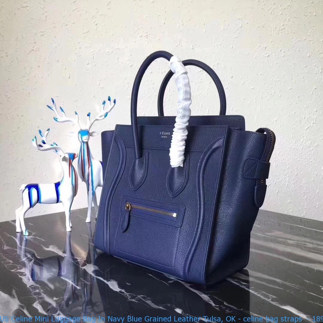 74af4f6b9b US Celine Mini Luggage Bag In Navy Blue Grained Leather Tulsa